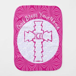 Blanco cruzado cristiano del zigzag de las rosas paños de bebé