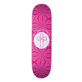 Blanco cruzado cristiano del zigzag de las rosas tabla de skate