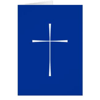 Blanco cruzado del libro de oración tarjeta de felicitación