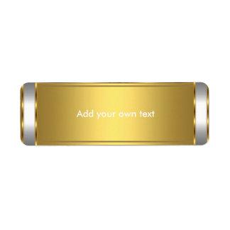 Blanco de la etiqueta autoadhesiva con oro