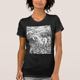 Blanco de la madre y de la hija del unicornio de camiseta