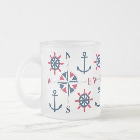Blanco de la marina de guerra de las anclas y del taza de café esmerilada