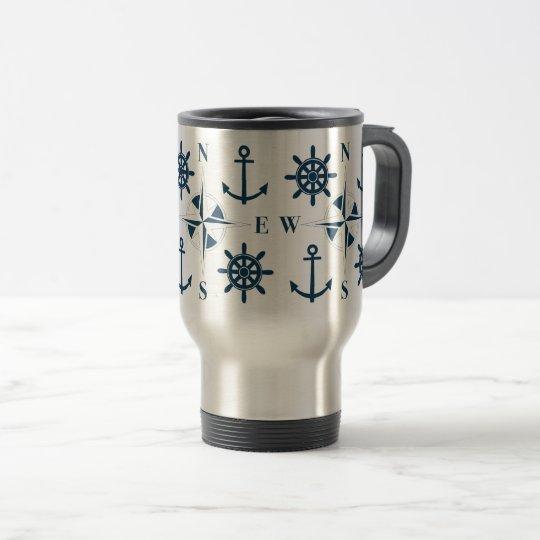 Blanco de la marina de guerra de las anclas y del taza de viaje