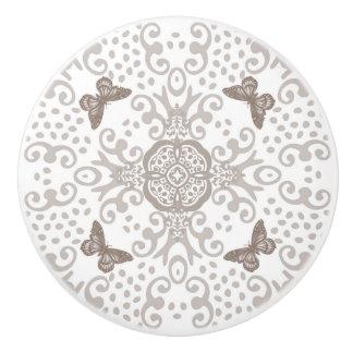 Blanco de la plata n de la apariencia vintage del pomo de cerámica