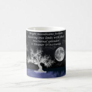 Blanco de la poesía del esplendor de la Luna Llena Taza De Café