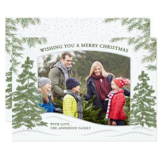 Blanco de la tarjeta de Navidad de las nevadas del