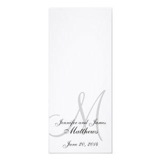 Blanco de lino del monograma del programa de la invitación 10,1 x 23,5 cm