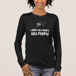Blanco de punto de la gente de la matanza camiseta de manga larga