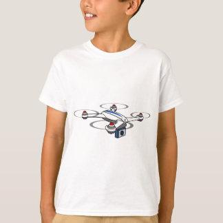 Blanco del abejón de Quadcopter y azul rojos Camiseta