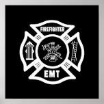 Blanco del bombero EMT Poster