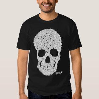 Blanco del cráneo del casquillo camiseta