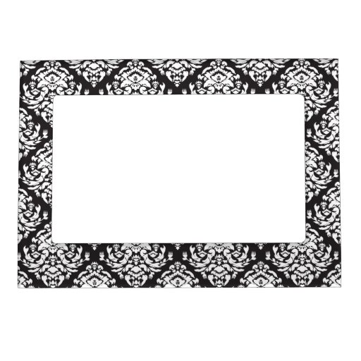 Blanco del damasco en negro foto de imanes