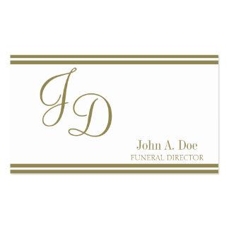Blanco del director de funeraria/escritura del oro tarjetas de visita