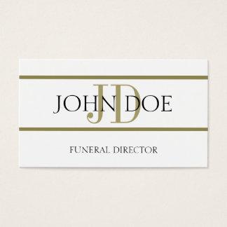 Blanco del director de funeraria/raya del oro tarjeta de negocios
