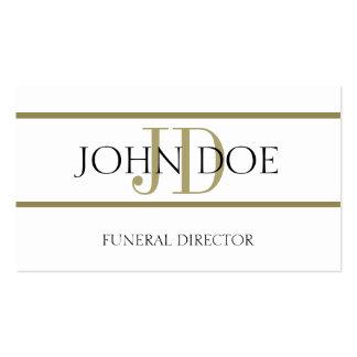 Blanco del director de funeraria/raya del oro tarjeta de visita