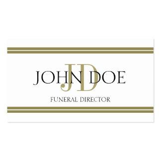 Blanco del director de funeraria/rayas del oro plantilla de tarjeta de visita