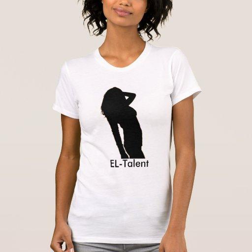 Blanco del EL-Talento, cuello en v Camiseta