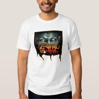 Blanco del llano del chica del zombi camisetas