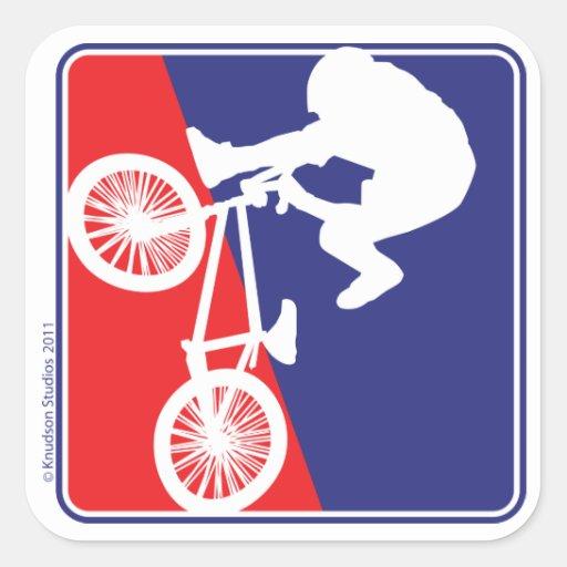 Blanco del motorista de BMX y azul rojos Pegatina Cuadradas Personalizadas