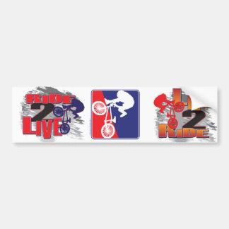 Blanco del motorista de BMX y azul rojos Pegatina Para Coche