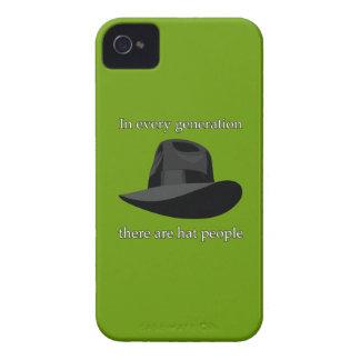Blanco del negro de la gente del gorra iPhone 4 cárcasas