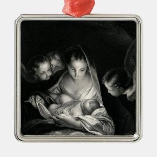 Blanco del negro de los ángeles del Virgen María Adorno Navideño Cuadrado De Metal