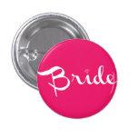 Blanco del Pin de la novia en rosas fuertes Chapa Redonda De 2,5 Cm