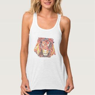 Blanco del tanque de las mujeres de la tipografía camiseta con tirantes