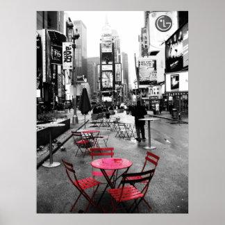 Blanco del Times Square y rojo negros Póster