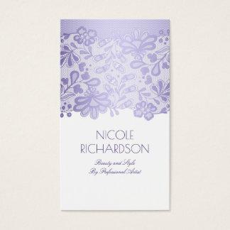 Blanco elegante del vintage del cordón púrpura de tarjeta de negocios