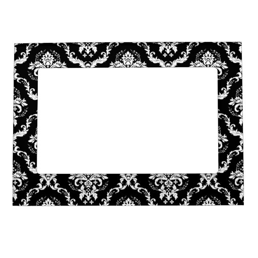 Blanco elegante en el damasco negro foto de imanes