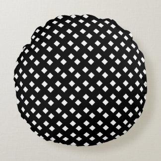 Blanco en diseño del diamante negro cojín redondo