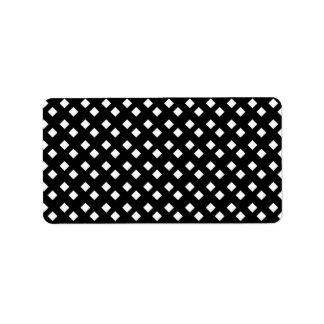 Blanco en diseño del diamante negro etiquetas de dirección