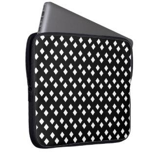 Blanco en diseño del diamante negro funda portátil
