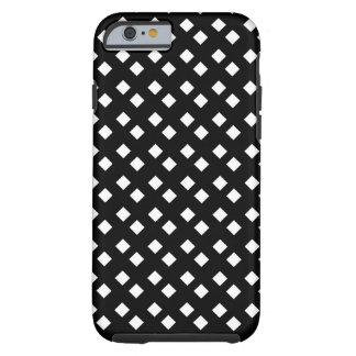 Blanco en diseño del diamante negro funda resistente iPhone 6