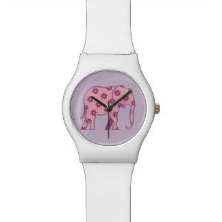 Blanco femenino elegante del elefante púrpura reloj de pulsera
