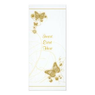 Blanco floral del fiesta de la mariposa elegante invitación 10,1 x 23,5 cm