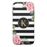 Blanco floral del negro del monograma del vintage funda iPhone 7