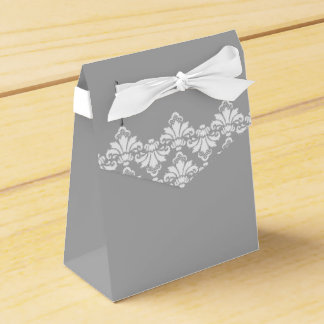 Blanco gris del damasco del boda de la caja
