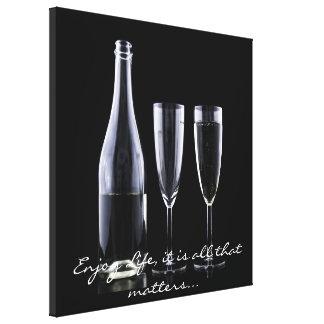Blanco inspirado del negro de la flauta de champán lienzo
