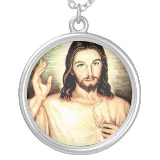 blanco-Jesús Collar Plateado