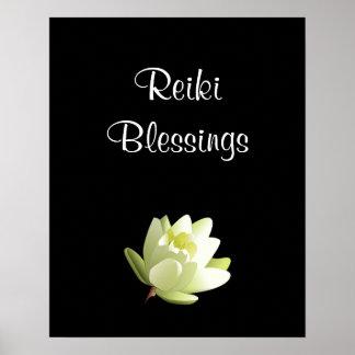 Blanco Lilly de las bendiciones de Reiki Póster
