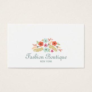 Blanco lindo y caprichoso del boutique del ramo de tarjeta de visita