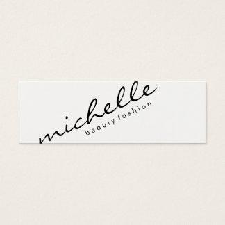 Blanco llano minimalista con el texto cursivo tarjeta de visita pequeña