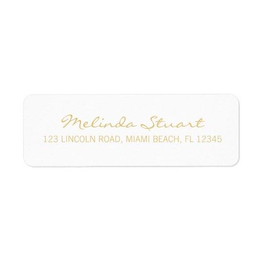 Blanco moderno simple profesional y oro etiquetas de remite