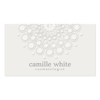 Blanco monocromático del rosetón elegante de la tarjetas de visita