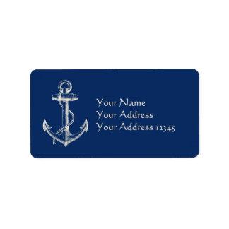 Blanco náutico de los azules marinos del regalo de etiqueta de dirección