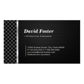 Blanco negro a cuadros del ingeniero del petróleo plantilla de tarjeta de visita