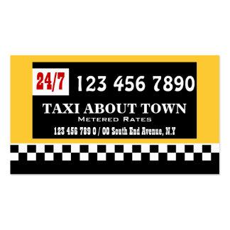 Blanco negro amarillo #2 del taxi tarjetas de visita
