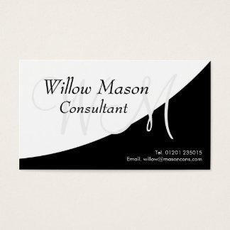 Blanco negro curvado, tarjeta de visita del